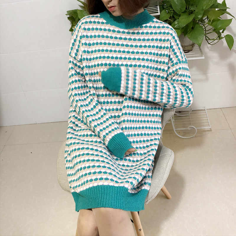 스웨터 여성 풀오버 절반 터틀넥 긴 게으른 바람 캐주얼 느슨한 포인트 인쇄 뜨개질 europes 바람 의류 vestidos lxj935