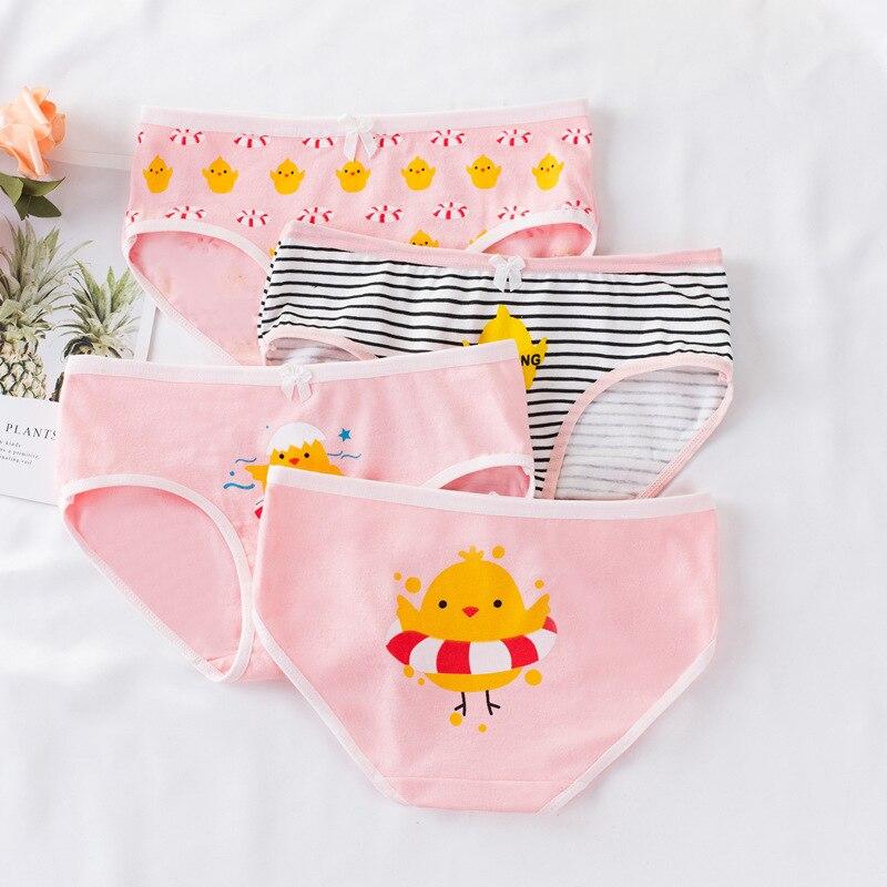 4PCS/Lot Children Soft Underwear   Panties   Puberty Girl Cute Cartoon Underwear Teenage Briefs Comfortable   Panties
