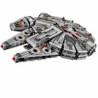 In Stock 1381 Pcs Compatible Lepining Star Wars Millennium 05007 Falcon Spacecraft Building Blocks Birthday Gift Toys