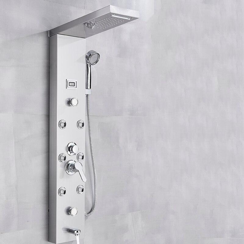 Rain Shower Head Panel Mixer Tap Shower Column Shower Tower System Massage Jet