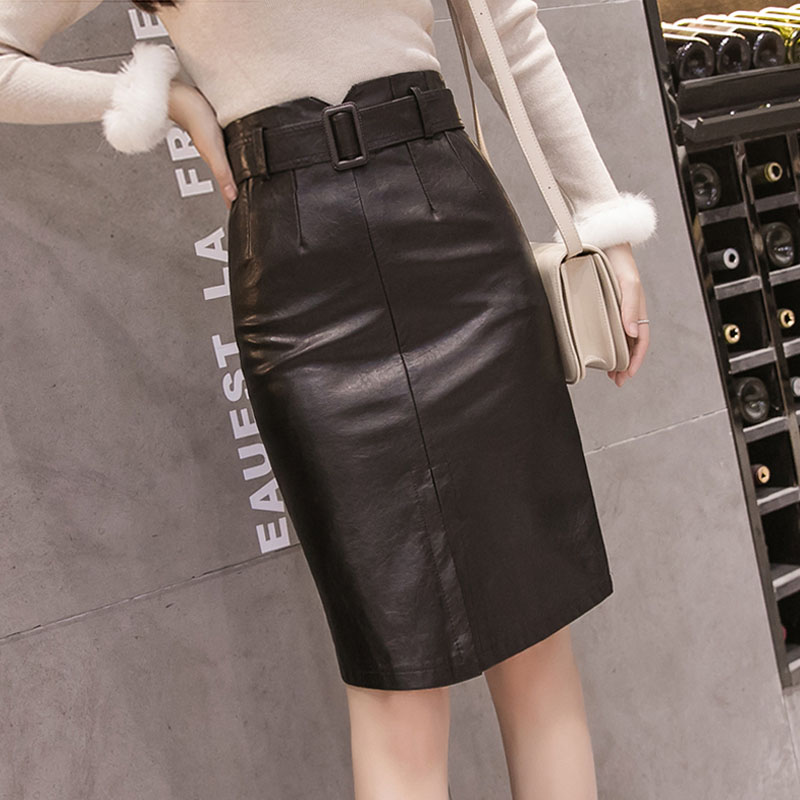 Women's Pu Leather Skirt Black Split Ins Super Fire Pencil Skirt Female Autumn Winter High Waist Belt Knee-Length Skirts ML286