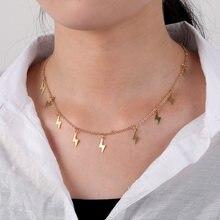 Ожерелье чокер с золотыми цепочками женское подвеска кисточкой