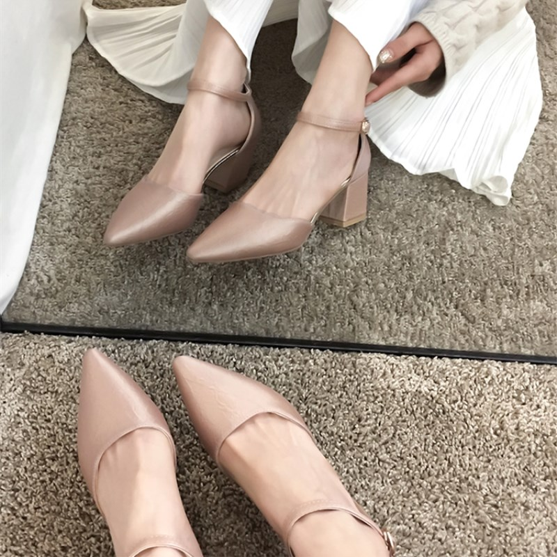 Zapatos de tacón de punta estrecha SLHJC, zapatos de tacón medio cuadrado de 5,5 CM, zapatos con hebilla en tobillo, sandalias de primavera y verano a la moda, zapatos de tacón de vestir fáciles de combinar Travestido Stilettos sexy Sandalias Para Mujer plataformas Sandalias de boda 22cm metálica delgada tacones zapatos de Mujer hebilla bombas