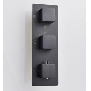Image 3 - Senlesen 블랙 온도 조절 샤워 꼭지 세트 비 폭포 머리 벽 홀더 믹서 탭 목욕 4 방향 온도 조절 샤워 꼭지