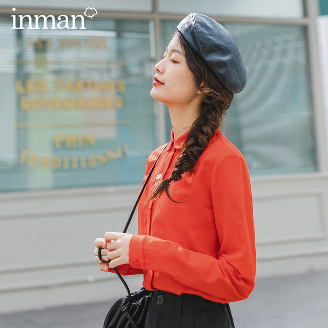 INMAN 2020 Spring New Arrival Literary Retro Embroidered Lapel Single breasted Long Sleeve Blouse