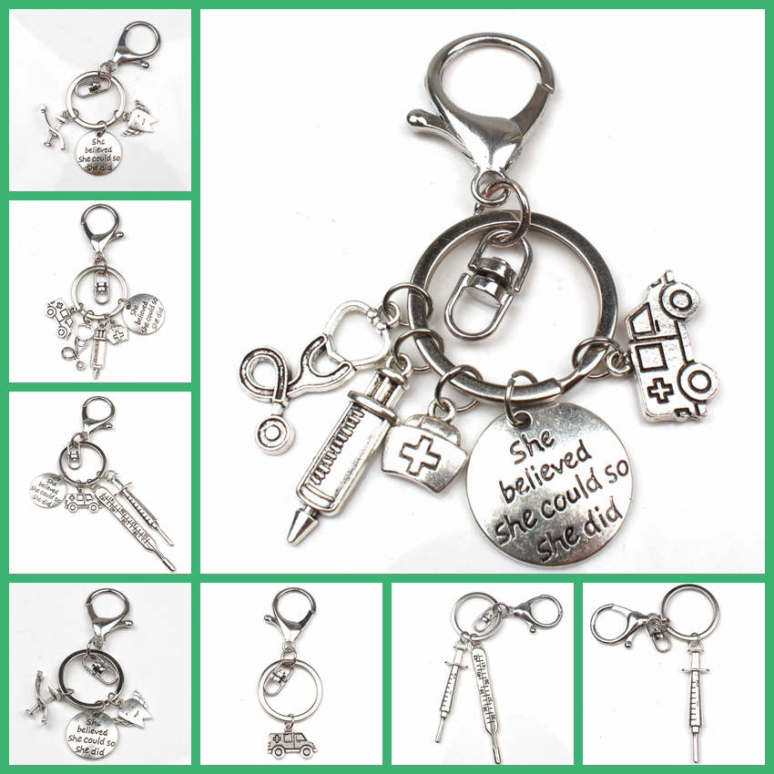 New Fashion Doctor Aid Kit Mini Syringe Thermometer Ambulance Dentist Angel Stethoscope Keychain Medicine Graduate Gift Souvenir