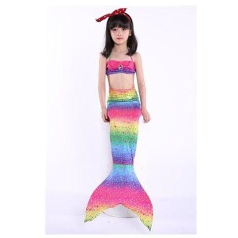 Women's Swimming Suit Colorful Seaside Mermaid Clothes Children Fishtail. Skirt Swimsuit Three-piece Set Little Princess Summer