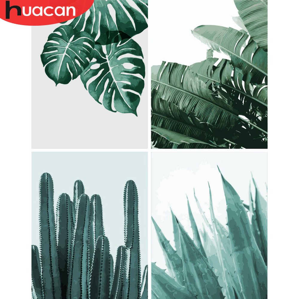 HUACAN Oil Painting By Numbers Leaf Plant Kits Drawing Canvas HandPainted DIY Pictures By Numbers Still Life Home Decoration
