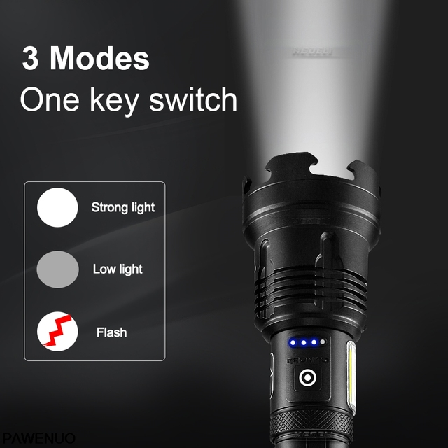 XHP160 COB Led Flashlight 18650 or 26650 Usb Tactical Flash Light XHP70.2 Rechargeable Led Lantern Zoom Hunting Bright Work Lamp 3