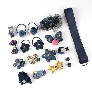 18Pcs/Set Baby Girl Cute Headband Turban Darling Bows Kids Headwear Elastic Hair Bands Clips Hairpins Set Baby Accessories Gift - Blue 18Pcs
