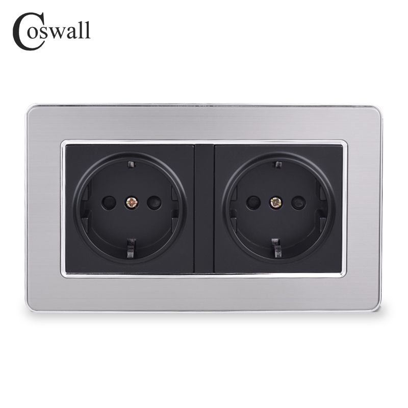COSWALL 16A Double EU Standard Wall Socket Luxury Power Outlet Grounded Stainless Steel Panel With Children Protective Door