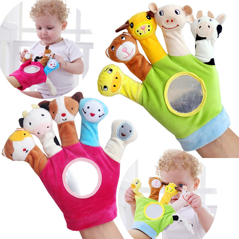 Baby Plush Toy Finger Puppets Tell Story Props 5pcs Animals Doll Kids Toys Children Gift Gloves With A Safety Mirror