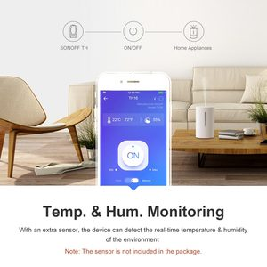 Image 2 - Sonoff controlador inteligente Itead TH10 10A con Wifi, Control remoto de temperatura y humedad, Sensor de Monitor a través de eWeLink, funciona con Alexa IFTTT