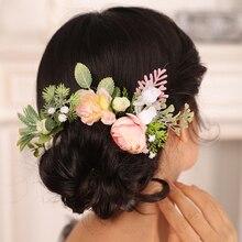 Hair-Pins Bride Headwear Gir-Ornaments Wedding-Decoration Pink for Women And Rose-Leaf