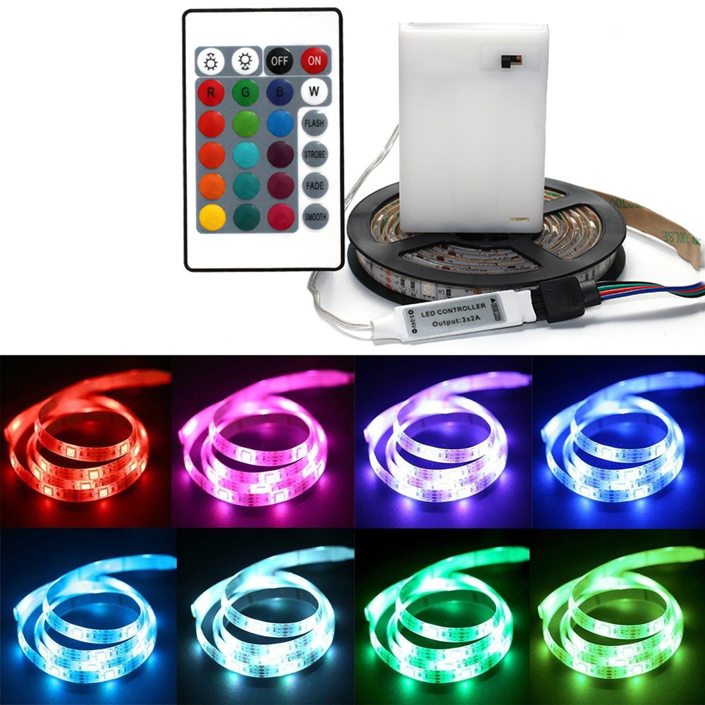 DC 5V 5050 RGB Strip LED Light Battery Powed Waterproof Ribbon Tape Stable Led Strips Indoor Outdoor Decoration Remote Control