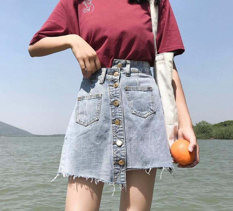 Sesión de fotos primavera ropa estilo coreano de cintura alta adelgazamiento Retro a line falda Culottes Denim Falda falda 2019 nuevo estilo Sho - 3