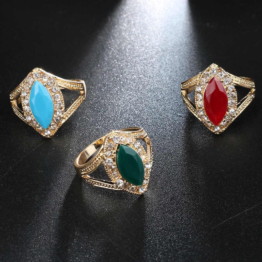 2020 ブルガリアジュエリーゴールドの結婚指輪ヴィンテージグリーンクリスタルブルー石リングファッション自由奔放に生きるアクセサリー