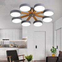Nordic lustres de teto de madeira sólida superfície montado com abajur ferro árvore teto lâmpadas interior led lustre luminária