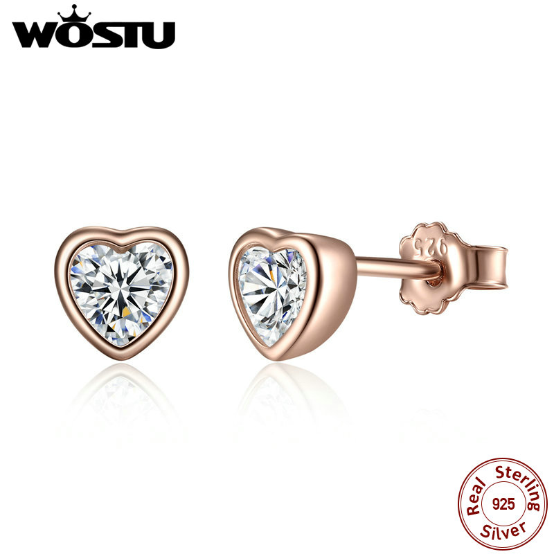Real 100% Real 925 Sterling Silver & Gold Color One Love Heart Stud Earrings For Women Female Authentic Original Jewelry XCHS452