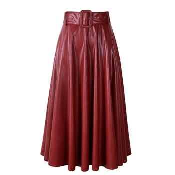 2019 New Fashion Women Autumn Winter PU Faux Leather Skirts Lady High Waist A-line Midi Mid-calf Maxi Long Black Skirt With Belt 6