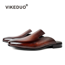 Vikeduo New 2020 Leather Laser Slippers Men's Shoes Manual C