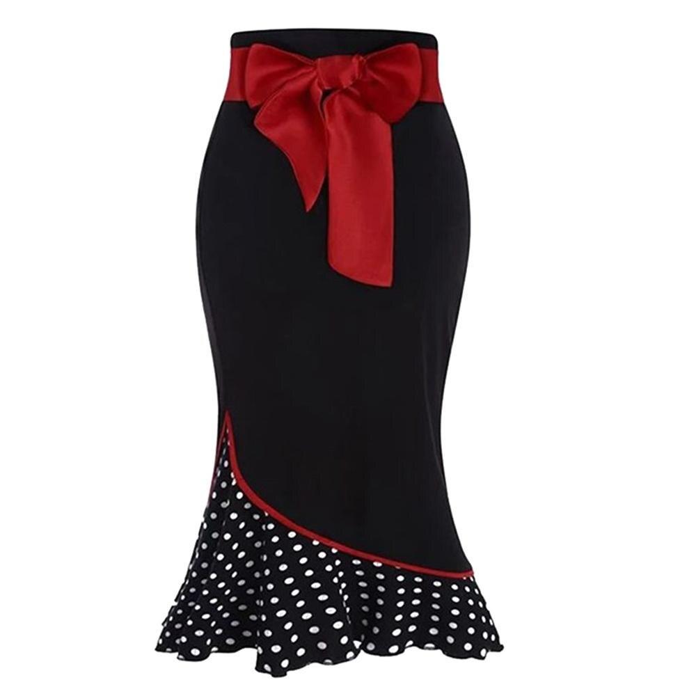 Christmas Evening  Skirt Fashion Elegant Gothic Sexy Women Polka Dot Ruffle Mermaid Skirt Bow Sashes Stretchy Waistline Skrit