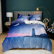 Custom 3D Print Sea Lighthouse Bedding Set Bedroom Home Decor Fashion Bed Set Pillowcase Soft Duvet Cover Queen King Single
