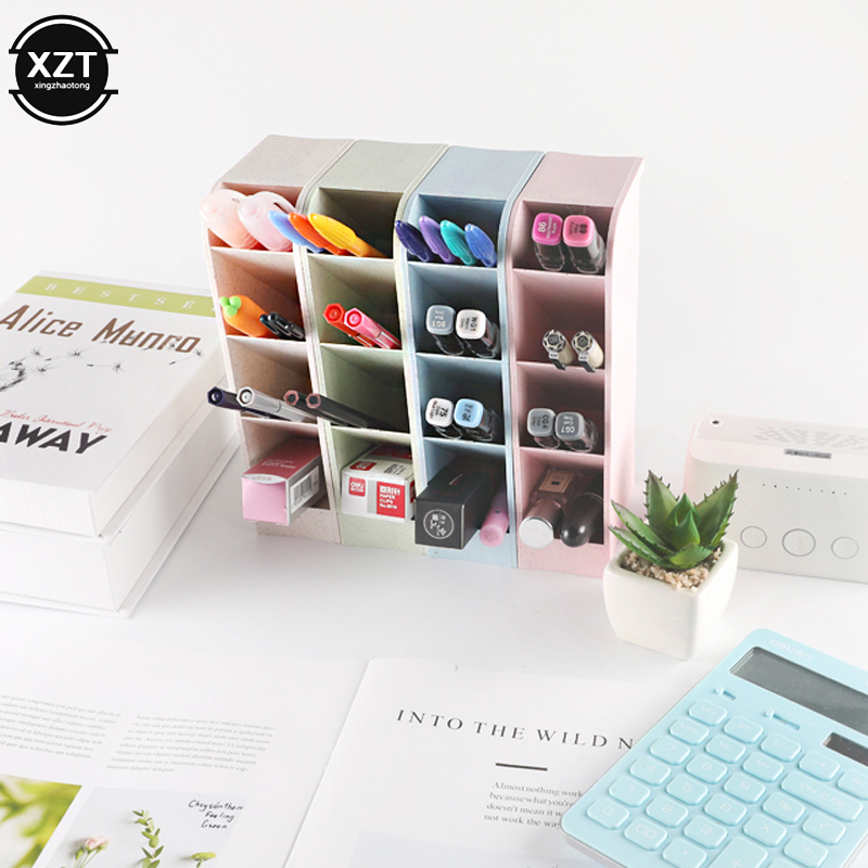 Multi-function 4 Grid Desktop Pen Holder Office School Storage Case Made By Eco-friendly Wheat Straw Desk Pen Pencil Organizer