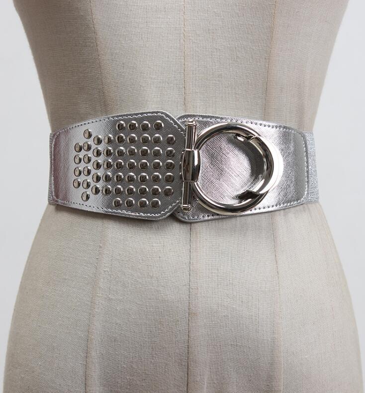 Women's Runway Fashion Pu Leather Rivet Elastic Cummerbunds Female Dress Corsets Waistband Belts Decoration Wide Belt R2953