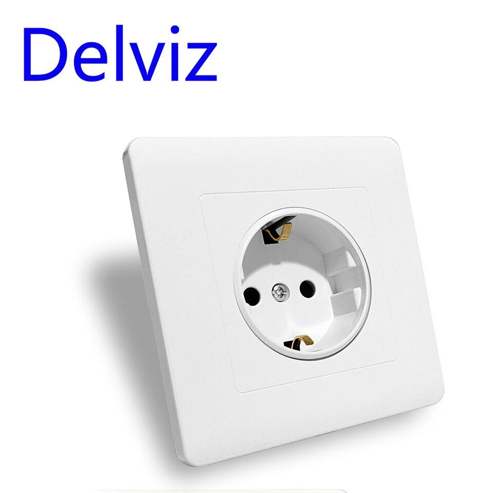 Delviz 16A power socket panel AC 110V~250V 86mm European standard German socket White square Round hole EU standard wall outlet(China)