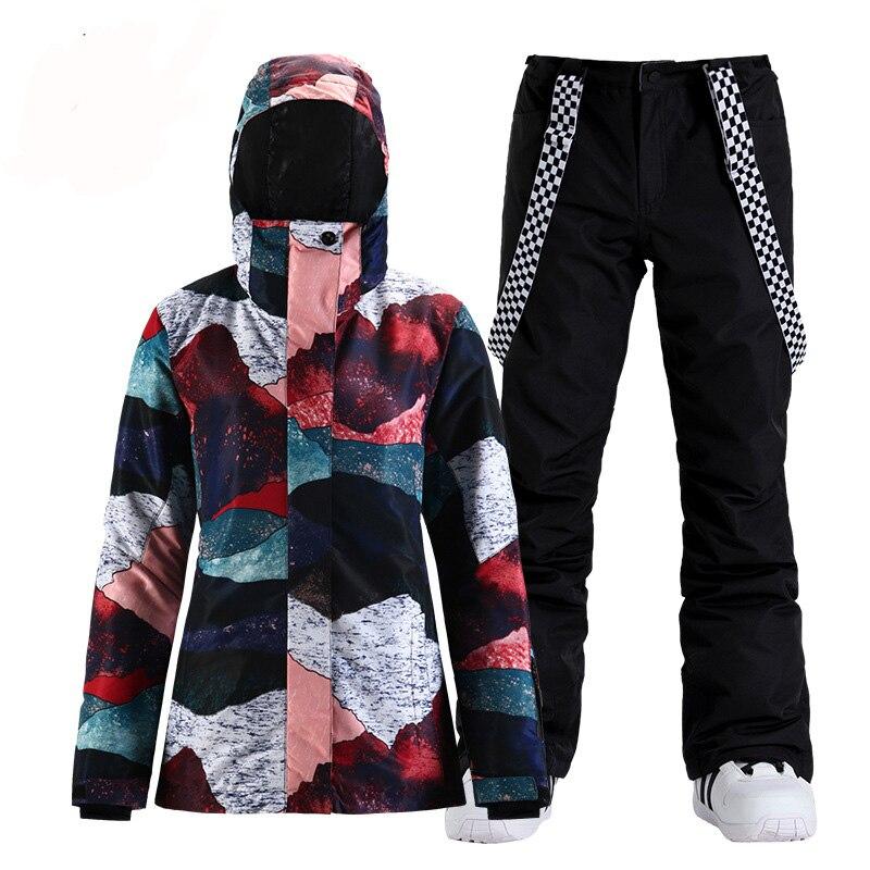 SMN Модный женский зимний костюм в стиле ретро, одежда для сноуборда, водонепроницаемые костюмы, зимняя уличная лыжная куртка + брюки на брете...
