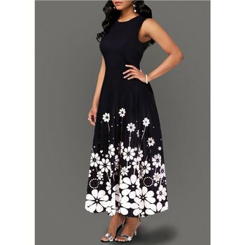 Summer Women Vintage A-Line Maxi Dress Tunic Sleeveless Long Floral Print Sundress Dresses