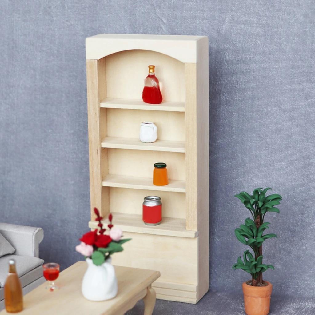 Furniture Liquor Cabinet Wood Dollhouse Curio Cabinet Maple China 1:12 Scale Storage Cabinet Miniature