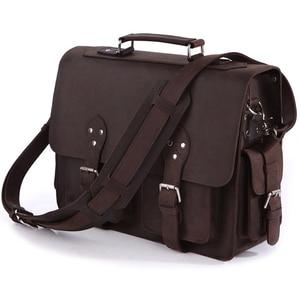 Image 1 - Vintage çılgın at deri erkek seyahat çantası bagajı çantası erkekler silindir çanta haftasonu büyük hakiki deri omuzdan askili çanta Crossbody büyük