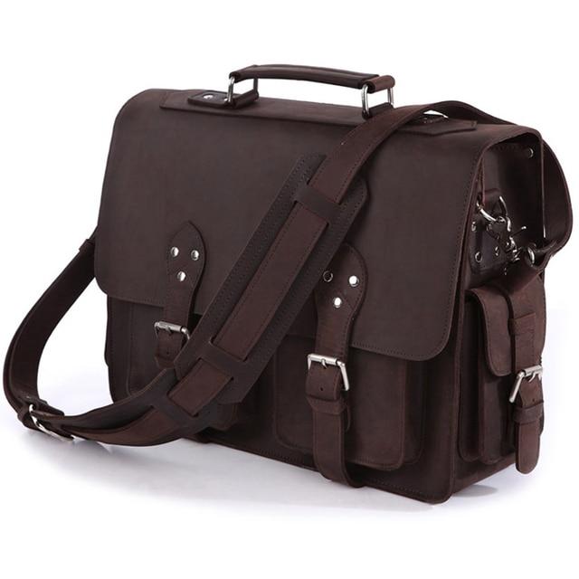 Vintage çılgın at deri erkek seyahat çantası bagajı çantası erkekler silindir çanta haftasonu büyük hakiki deri omuzdan askili çanta Crossbody büyük