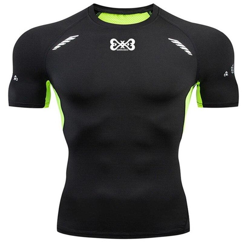 Men's Short Sleeve T-Shirt Black Compression Shirts Running Training T Shirt Hot-sale Men GYM Jogging Tight Sports Tops & Tees