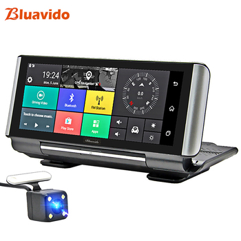 цена на Bluavido 7 Inch 4G Car DVR Camera GPS FHD 1080P Android Dash Cam Navigation ADAS Car Video Recorder Dual Lens Dashboard camera