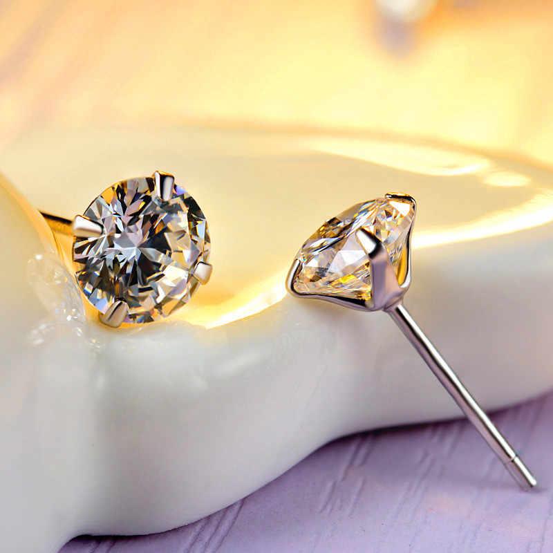 מינימליסטי נשי לבן קריסטל אבן עגילים עדינים כסף קטן הרבעה עגילים לנשים אלגנטי כלה עגולות עגילים