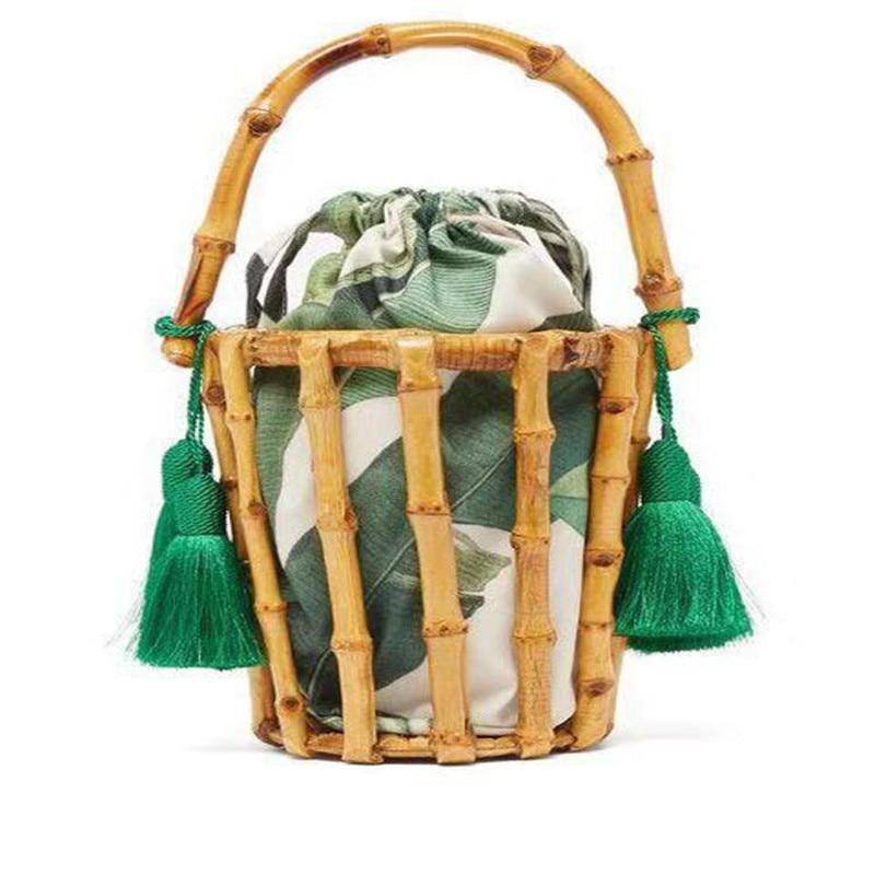 Handmade Woman Bags Tassel Woven Bag Bamboo Handbag Stitching Clutch Bucket Bag Hollow Bali Holiday Beach Bag