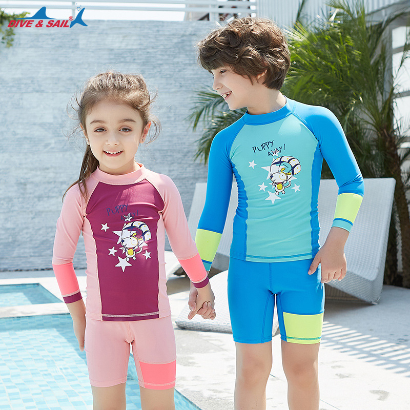 Bathing Suit Children Two-piece Swimsuits Men's Long Sleeve Sun-resistant Quick-Dry Diving Suit Baby GIRL'S Shorts Set Cartoon H
