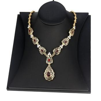 Sunspicems Fashion Crystal Pendant Necklace Wedding Jewelry For Women Morocco Algeria Caftan Necklace Arab Bridal Bijoux Gift 1
