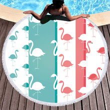 Cartoon Flamingo Lovers Printed Beach Towel 150cm Large Women Round Beach Towel with Tassels Yoga Mat Toalla Playa Mats 2019 geometric patterns summer round beach towel with tassels beach covers bath towel picnic yoga mat for adult toalla de playa