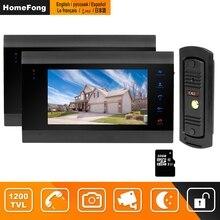 Homefong 유선 비디오 인터콤 홈 보안 시스템 비디오 도어 폰 2 모니터 1 초인종 카메라 모션 감지 녹음