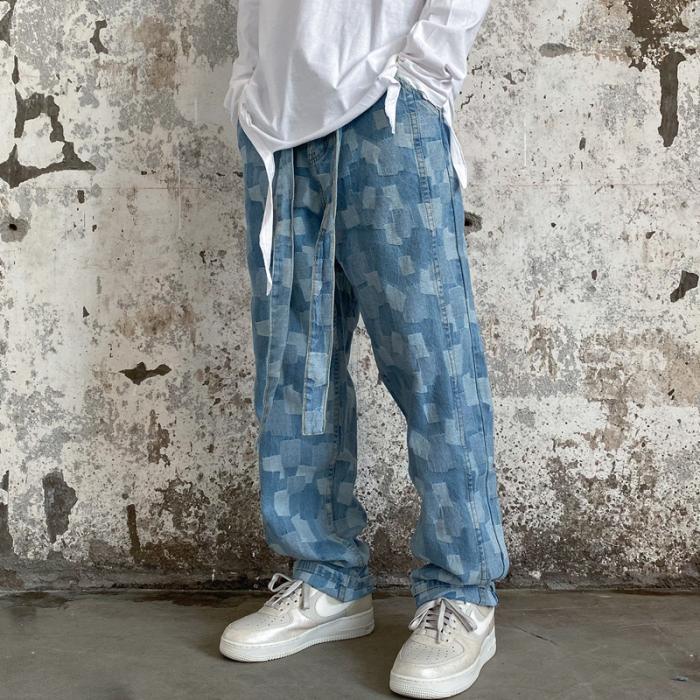 Retro Jeans Homme Men Loose Straight Streetwear Denim Pants Hip Hop Personality Print Pencil Pants Ripped Jeans For Men