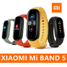 Oryginalny Xiaomi Mi zespół 5 inteligentne nadgarstek 4 kolor tętno Fitness Tracker Bluetooth Sport bransoletka AMOLED ekran Miband 5 tanie tanio CN (pochodzenie) Xiaomi band 5