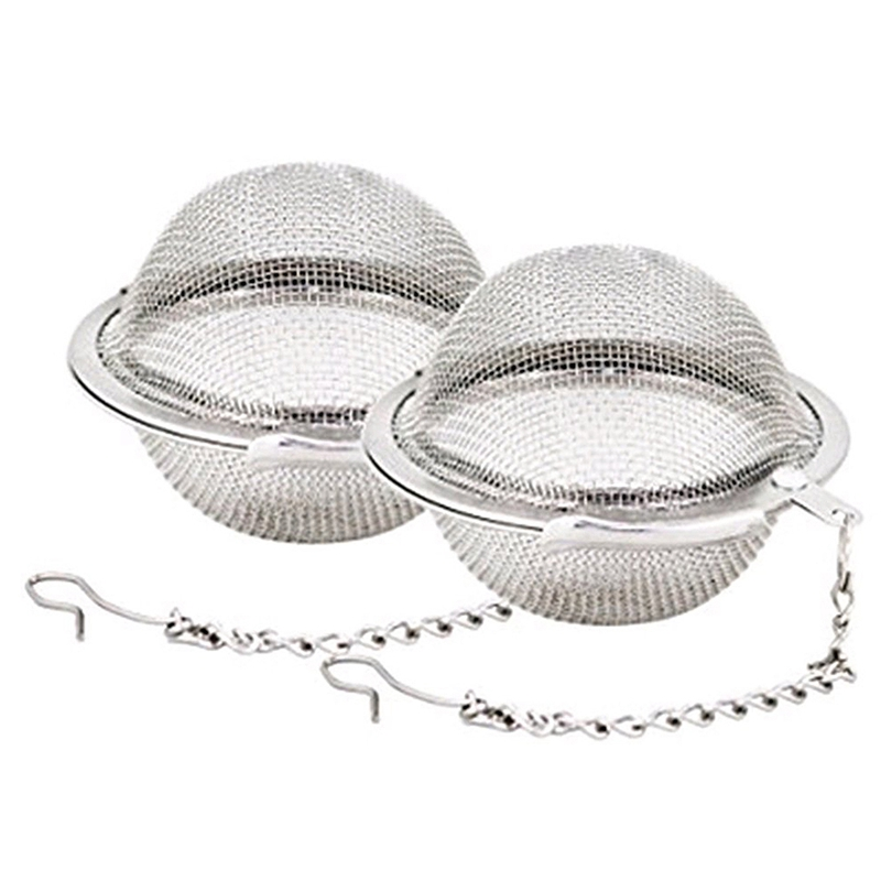 HOT-2pcs Stainless Steel Mesh Tea Ball 2.1 Inch Tea Infuser Strainers Tea Strainer Filters Tea Interval Diffuser For Tea