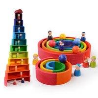 Arco-íris de madeira blocos de empilhamento de madeira brinquedos grimms arco-íris blocos de construção de madeira colorido arco-íris crianças brinquedo educativo