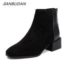 JIANBUDANฤดูใบไม้ร่วงฤดูหนาวSuede Casualเชลซีรองเท้าผู้หญิงแฟชั่นรองเท้าข้อเท้าใหม่ฤดูหนาวผู้หญิงอบอุ่นขนาด34 40