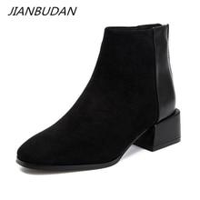 JIANBUDAN jesienne zimowe zamszowe casual Chelsea boots moda damska nowe botki zimowe pluszowe ciepłe damskie rozmiar butów 34 40