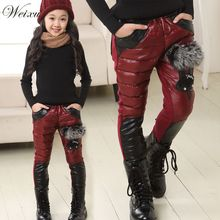 Kids Winter Leather Pants Wine Red Fox Fur Down Cotton Trousers Baby Girls Plus Thick Warm Pants Kids Full Length Snow Pants цена